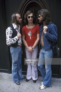 Maurice Gibb, Robin Gibb, and Barry Gibb of the disco group the Bee Gees in Central Park in New York City on March 23, 1975.