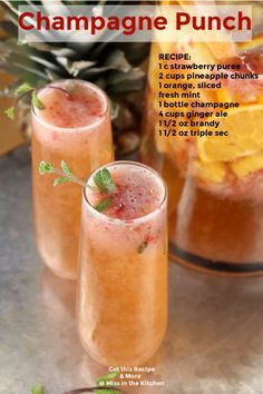 Champagne Punch is the perfect party cocktail for New Year's Eve and celebrations all year long! A delicious combination of sparkling wine, pineapple, strawberry and orange flavors is refreshing and delicious. A great make ahead large batch cocktail. Party Drinks, Cocktail Drinks, Fun Drinks, Alcoholic Drinks, Champagne Cocktail, Mixed Drinks, Liquor Drinks, Champagne Punch Recipes, Cocktails