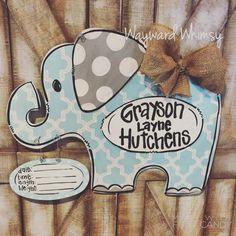 Wayward Whimsy by TheWaywardWhimsy on Etsy Hospital Door Wreaths, Hospital Door Hangers, Baby Door Hangers, Wooden Door Hangers, Wooden Doors, Baby Boy Wreath, Baby Elefant, Baby Girl Elephant, Elephant Room