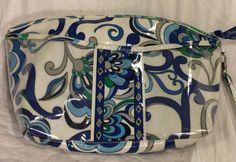 Vera Bradley MEDITERRANEAN Large Wristlet Cosmetic Case Bag White Blue Vinyl #VERABRADLEY #COSMETICCASEBAG