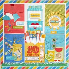 Sweet Summertime Layout with Envelope Album Embellishments with Biker Chick Tania Willis Little Yellow Bicycle, Family Tree Wall, Biker Chick, Love Cards, Happy Fall, Scrapbooking Layouts, Little Boys, Summertime, Embellishments