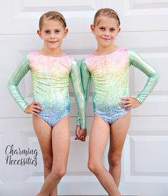 Shiny Rainbow Stripes Girls Long Sleeve Dance Gymnastics Leotards Tank 4-8Y