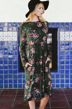Kingsley Floral Print Midi Dress - Olive