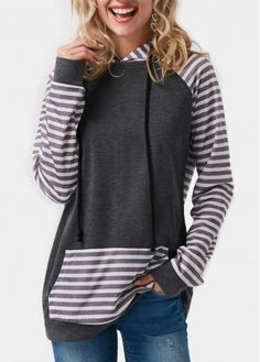 Long Sleeve Striped Pocket Grey Hoodie on sale only US$33.09 now, buy cheap Long Sleeve Striped Pocket Grey Hoodie at Rosewe.com