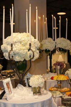 white hydrangea arrangement   hydrangea centerpiece   large hydrangea arrangement for food buffet
