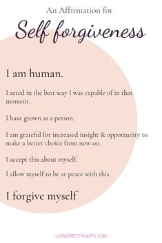 An affirmation for self forgiveness. A pivotal step in accepting yourself An affirmation for self forgiveness. A pivotal step in accepting yourself Affirmations Positives, Positive Affirmations Quotes, Self Love Affirmations, Affirmation Quotes, Positive Mantras, Positive Mindset, Positive Words Of Affirmation, Healing Affirmations, Positive Self Talk