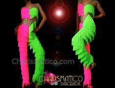 3e937ade5 CHARISMATICO Neon Pink And Green Crystal Fringed Dance Pantsuit With  Two-Piece Illusion Top