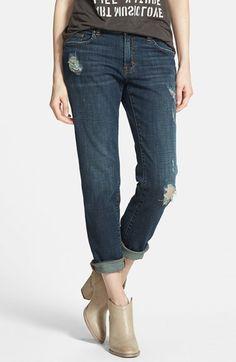 BP. Girlfriend Jeans (Dusk Blue Distressed)