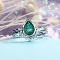 Emerald Engagement Ring Set Pear Shaped Cut Wedding Bands Women Vintage Curved Diamond Bridal Jewelry Birthstone Stacking Anniversary Gift - Page 2 of 31 - Wedding Dream Unconventional Engagement Rings, Bridal Jewelry Sets, Engagement Ring Settings, Halo, White Gold, Hipster, Wedding Rings, Beautiful, Diamond