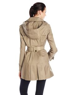 Via Spiga Women's Single-Breasted Belted Trench Coat with Hood