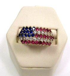 10K Gold Red, White & Blue American Flag / Ruby, Diamond & Sapphire Ring Sz 7.5 ~ $129.99 I love this ring.