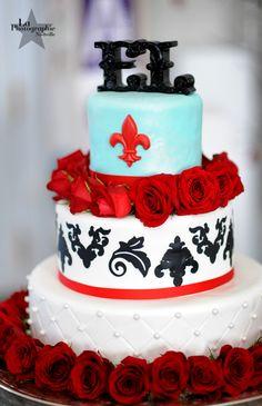 Red and Blue wedding cake! #red #blue #weddingcake