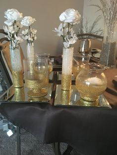 White and gold centerpieces for a purity luncheon.