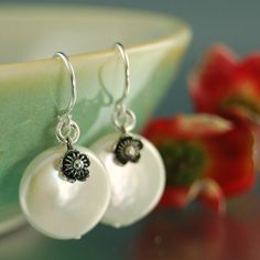 Sterling silver flower and White Coin pearl earrings, June Birthstone