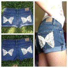 DIY shorts DIY cutoffs shorts add lace bows(: