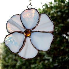 White Flower Stained Glass Suncatcher by aHouseofShards on Etsy, $45.00