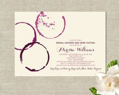 LOVE! Wine Glass Stains Theme Bridal Shower Invitations - Modern Rustic Design. $25.00, via Etsy.
