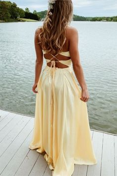 Popular Yellow Evening Dresses,Long Prom Dresses,Cross Back Prom Dress Yellow Evening Dresses, Evening Dress Long, Pretty Prom Dresses, Hoco Dresses, Ball Dresses, Homecoming Dresses, Cute Dresses, Beautiful Dresses, Formal Dresses