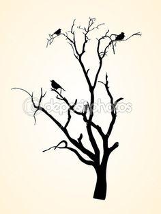 Creatieve abstracte decor ontwerp van vector boom silhouetten