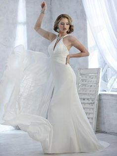 Balletts Bridal - 21251 - Wedding Gown by Jacquelin Bridals Canada - Chiffon Slim A-line with beaded chocker collar detail. Low V front. Pleated Crises Cross bodice. Streamer tail back