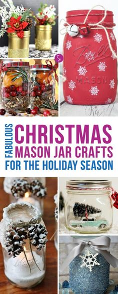These Mason Jar crafts are GORGEOUS and so EASY to make for Christmas decor!