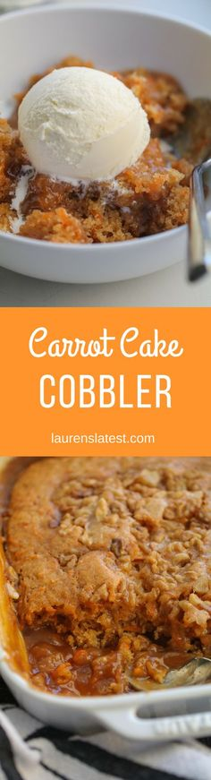 Carrot Cake Cobbler is the ultimate Easter dessert with cake on the top and hot caramel sauce on the bottom!