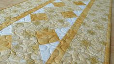 Quilted Judaica Table Runner Star of David Gold by QuiltinWaYnE