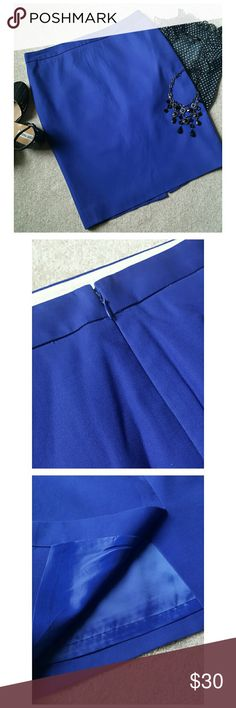 "*J.Crew A-Line Skirt* *Good Condition!! A polished and flattering beautiful blue-purple color. Worn twice. Back zipper with clasp. Minor flaw: thread run in the bottom left side of the skirt (not to noticeable/ Picture 4). Length: 22"". Width: 16"" 100% Cotton, Lining: 100% Polyester. Ask any questions. Happy Poshing!!* J. Crew Skirts A-Line or Full"