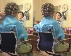 femme au salon montage mise en plis