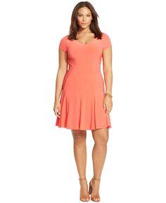 Lauren Ralph Lauren Plus Size Jersey Fit-and-Flare Dress - Dresses - Plus Sizes - Macy's