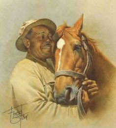 Man O' War and Will Harbut by Fred Stone, aptly titled Forever Friends. They are buried next to each other.