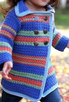 "Crochet pattern for stripes pea coat style cardigan sweater. Girls sizes ""Ravelry: Pea Coat Sweater pattern by Anji Beane.just use a different color"", Crochet Girls, Crochet Baby Clothes, Crochet For Kids, Easy Crochet, Free Crochet, Knit Crochet, Crochet Children, Tutorial Crochet, Crochet Jacket"