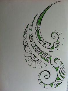 green polynesian tattoo drawing by CHLOE daniel