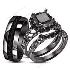 New Fashion Jewelry AAA Diamond His & Her 3pcs Trio Ring Set 1.49CT Black Gold