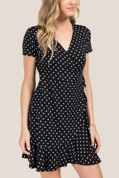 Jamie Ruffle Polka Dot Wrap Dress
