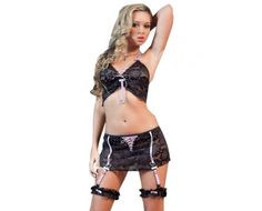Sexy 4pcs Boyfriend Lover Black Skirt Set Black One Size