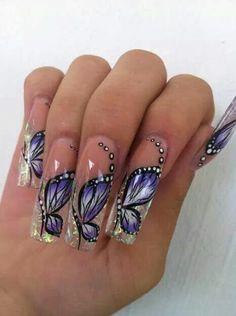 uas de gel con dibujos unas uas con mariposas super cool