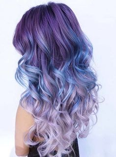 Dusty, Dark Purple to Blue and Light Purple Ombre Hair What better way to give yourself a brand new hair look than by changing the color entirely. These 25 amazing blue and purple hair looks are perfect! Curls Haircut, Neon Hair Color, Hair Colours, Unicorn Hair Color, Color Blue, Dye My Hair, Mermaid Hair, Mermaid Makeup, Gorgeous Hair