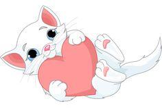 White Kitten with Heart