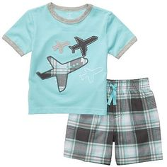 Carter's Airplane Tee and Plaid Shorts Set - Toddler Toddler Boy Outfits, Toddler Boys, Kids Outfits, Carters Clothing, Boys Closet, Baby Boy Fashion, Kids Fashion, Lifestyle Clothing, Plaid Shorts