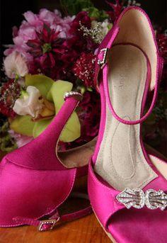 MOST COMFORTABLE WEDDING SHOES EVER!!!  Angela Nuran Bridal Shoe Astoria dyed hot pink