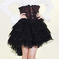 Knee length black, red and white cotton Gothic Lolita skirt - EUR € 54.54