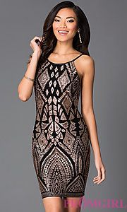 Buy Spaghetti Strap Print Dress 48146 by Jump at PromGirl Gold And Black  Dress 340737e1c6b