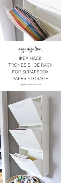 Scrapbook paper out of control? Use this IKEA Hack: Trones Shoe Holders are the ...