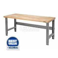 Too large for the space I have but sturdy enough for the embroidery machine!  I wonder if I could make one.  $149.95 Open Leg Work Bench | Adjustable Height | Adjustable Height Work Benches - GlobalIndustrial.com