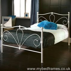 The Nimbus metal bedframe has an art deco style with its inset swirling frame detail. The Nimbus is available in 4 different sizes.