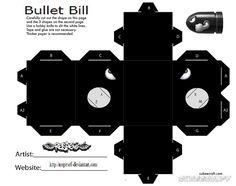 Bullet Bill Mario - cubeecraft / papercraft by MarcoKobashigawa