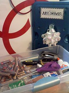a great idea for newlyweds or new home owners... their very own junk drawer!