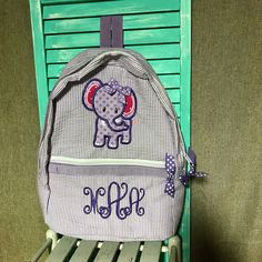 Girls Seersucker Backpack/Diaper Bag with Elephant by AuntieJsDesigns