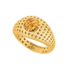 Mesh Weave Citrine Ring In 14K Gold